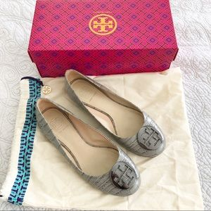 Tory Burch Gray Croc Embossed Leather Ballet Flats
